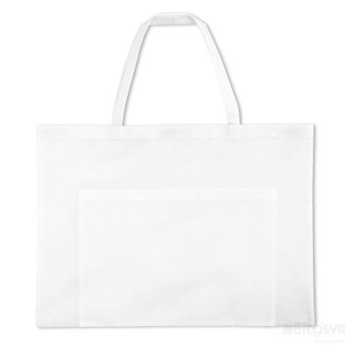 作品収納バッグ 不織布 大(ポケット付)白 あす楽対象[メール便:80](スケッチ用具・イーゼル 多目的バッグ)