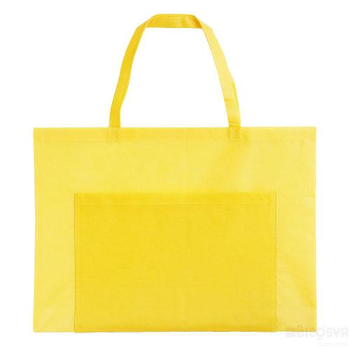 作品収納バッグ 不織布 大(ポケット付)薄黄 あす楽対象[メール便:80](スケッチ用具・イーゼル 多目的バッグ)