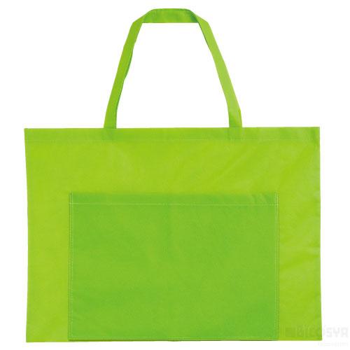 作品収納バッグ 不織布 大(ポケット付)黄緑 あす楽対象[メール便:80](スケッチ用具・イーゼル 多目的バッグ)
