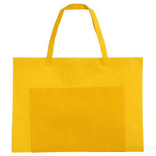 作品収納バッグ 不織布 大(ポケット付)黄 あす楽対象[メール便:80](スケッチ用具・イーゼル 多目的バッグ)