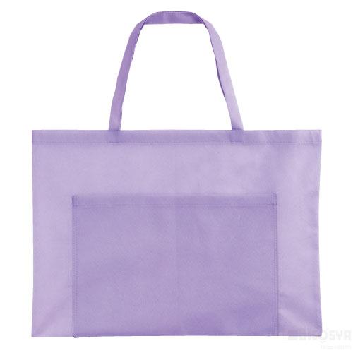 作品収納バッグ 不織布 大(ポケット付)薄紫 あす楽対象[メール便:80](スケッチ用具・イーゼル 多目的バッグ)