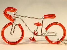 ギフトハンドメイド ワイヤーキーホルダー 針金細工 針金自転車 針金アート 手芸 おしゃれ バイシクル カワイイ 自転車キーリング 自転車モチーフ 雑貨 ロードバイク 自転車好き ギフト 景品 記念品 ノベルティ 販促品 オレンジレッド