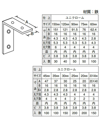 YAMAICHI(ヤマイチ)YS-19ユニクローム特厚金折35mm(ビス別売)100入