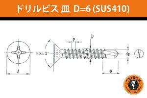 台灣小阪精工・小阪鋲螺製作所 ドリルビス 皿 D=6 (ステンレスSUS410) 4x16 (1000本) (BKF4016S6)