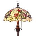 Bieye照明L20179 薔薇 蝶 バラ フロアスタンドランプ ステンドグラスランプ インテリアライト 雰囲気ランプ 寝室ランプ ティファニーランプ オシャレランプ 癒しグッズ フロアランプ ステン