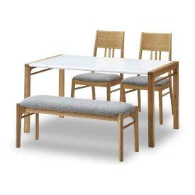 送料無料 ダイニング4点セット アリス 135センチ 2色対応 ベンチタイプ 椅子4脚タイプ ナチュラル ブラウン モダン シンプルデザイン 食卓 チェア ハイグロス