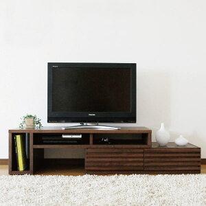 送料無料 完成品 国産 119幅 伸縮自在テレビボード ウォールナット無垢材 くるみ オイル塗装 日本製 TVボード テレビ台 引出し スライド式 左右設置可能 北欧モダン シ