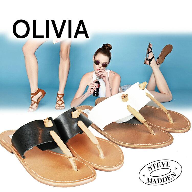 20%オフ スティーブマデン steve madden OLIVIA 本革 レディース シューズ フラットサンダル Hot Stuff Sandal White ホワイト ブラック 夏 リゾート OLIVIA