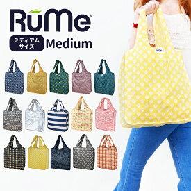 【新柄入荷】 RuMe Medium ルーミー ルメ スタンダードサイズ エコバッグ プリント柄 簡単折りたたみ ベルクロ付き BAGGU好きにも マチ付き 手のひらサイズ マイバッグ ショッピングバッグ RUME1