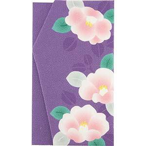 くろちく よそおい袱紗 ふくさ 椿 ツバキ 花柄 紫 パープル 和柄