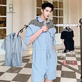 韓国 ファッション メンズ サマー つなぎ オールインワン モード系 変形 ストライプ 2WAYの見た目 半袖 ショーツ ハーフパンツ 韓流 ビッグシルエット 原宿系 ジェンダーレス 韓国系メンズ オーバーオール ジャンプスーツ サロペット ゆったり