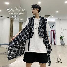 韓国 ファッション メンズ チェック柄 ミドル丈 ベスト チョッキ カーディガン ロング丈 ビッグシルエット ゆったり ハーフスリーブ パーティー キレイ目 モード系 大きいサイズ M L XL LL サマー