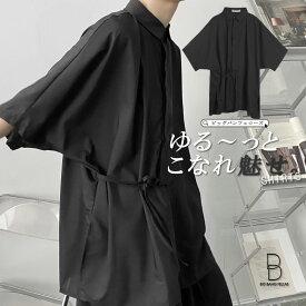 ビッグ ドルマンスリーブシャツ ビッグシルエット ブラックコーデ ビックシルエット 韓国 ファッション メンズ ゆったり メンズ ストリート カジュアル メンズ 春 夏 秋冬個性 大きいサイズ おしゃれ 個性的 カジュアルシャツ