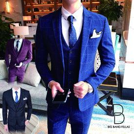 メンズ スリーピーススーツ スタイリッシュスーツ メンズスーツ 3点セット 成人式 シングル 1つボタン メンズスーツ スリム セットアップ 上下 ビジネススーツ ベスト パンツ 紳士服