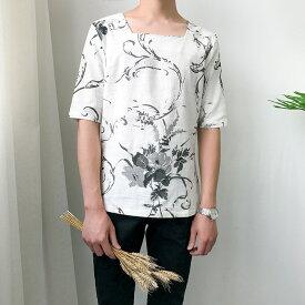 【クーポンで15%OFF】メンズ スクエアネック リネン 麻 デザインティーシャツ ハーフスリーブ チャイナシャツ チャイナ風 中国 和風 花柄 メンズファッション モード モダン ストリート 衣装 舞台【ラッキーシール対応】