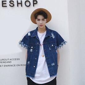 韓国 ファッション メンズ モード系 メンズ ゆったり 韓流 ビッグシルエット 原宿系 韓国系メンズ 半袖 Gジャン ジージャン デニム ジェンダーレス ベスト トップス モードストリート BIG B系 ファッション ストリート系