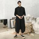 【送料無料】モード系 ハーフスリーブ 半袖 つなぎ 韓流 韓国 ファッション メンズ サロン系 ビッグシルエット 原宿系…