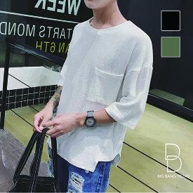 韓国 ファッション メンズ メンズ ビッグTシャツ 韓流 サロン系 ゆったり ビッグシルエット 原宿系 韓国系メンズ ポケット BIG TEE モード系 メンズファッション モード ストリート系 サロン 春 夏 個性 無地