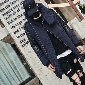 韓国 ファッション メンズ ハイカラー中綿コート 韓流 ライダース モノトーン モダン ハイネック 原宿系 韓国系メンズ メンズ メンズファッション ストリート 冬 秋 個性 衣装 モード モードストリート モード系