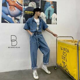 【在庫品】韓国 ファッション メンズ 個性出したい人限定 メンズ 半袖 デニム ストールネック ジャンプスーツ ゆったり ジェンダーレス つなぎ オールインワン コンビネゾン ファッション カジュアル モード系 韓流