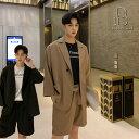 【5%OFFクーポン配布中】韓国 ファッション メンズ ワンランク上のおしゃれ用 メンズ ゆったり サマースーツ ハーフパンツ ショーツ 七分袖 テーラード セットアップ キレイめ リゾート 緩め ファッション ストリート系 カジュアル モード系 韓流 【ラッキーシール対応】