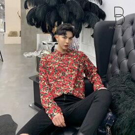 【期間限定クーポンで10%OFF】韓国 ファッション メンズ デート着 気分が上がる ストールネック 花柄シャツ フラワー ゆったり 長袖 カットソー メンズ ジェンダーレス ストリート系 カジュアル モード系 韓流 コリアン K-POP