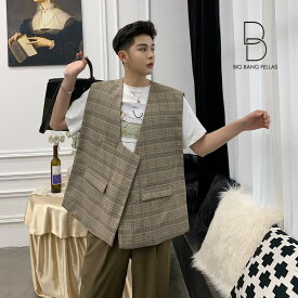 韓国 ファッション メンズ 違いを生む ビッグシルエット ベスト チョッキ ゆったり メンズ メンズファッション ストリート系 カジュアル モード系 ジェンダーレス 韓流 コリアン K-POP 大きいサイズ ジレ 二次会 パーティー