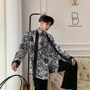 ストールネクタイセット 植物柄 ゆったり シャツ モード系 韓流 韓国 ファッション メンズ 原宿系 韓国系メンズ 長袖 メンズ ストリート系 モードストリート K-POP アイドル 総柄 ボタニカル柄 個性的【ラッキーシール対応】