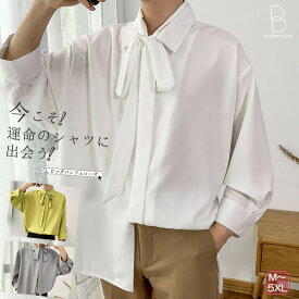 韓国 ファッション メンズ さらっとオシャレ上級者へ。ゆったり 長袖シャツ ストールネック 長袖 九分袖 メンズ ストリート カジュアル ビッグシルエット カジュアルシャツ メンズファッション 春 秋 個性 大きいサイズ 【ラッキーシール対応】
