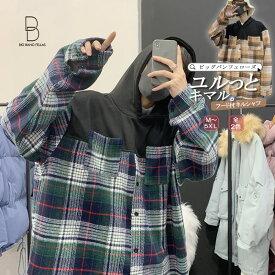 韓国 ファッション メンズ シャツ カジュアルシャツ ネルシャツ チェック柄 パーカー フード ビッグシルエット ゆったり ボリューム袖 長袖 ロングスリーブ 二次会 パーティー モード系 大きいサイズ M L XL LL 2XL XXl 3XL 4XL 5XL【ラッキーシール対応】