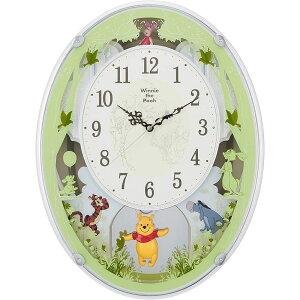 RHYTHMリズム時計クロック電波掛け時計メロディ付キャラクター時計くまのプーさんM5234MN523MC03