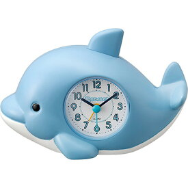 RHYTHM リズム時計 クロック 目覚まし時計 音声アラーム キャラクター時計 起きてイルカ?SR 4SE553SR04
