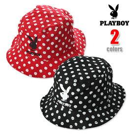 PLAYBOY BUCKET HAT プレイボーイ バケット ハット バケットハット ドット (ブラック・レッド) PLAY BOY playboy メンズ レディース ハット