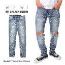 MNML ミニマル スキニー デニムパンツ スキニーパンツ ジッパー ジーンズ M1 SPLASH DENIM PANTS