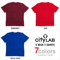 CITYLABT-SHIRTSシティーラブVネックTシャツプレーンメンズ大きいサイズ無地プレミアムコットンTシャツCITYLABcitylabcitylabシティラブ