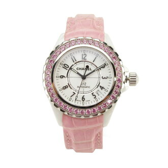 ( tax free ! )Chanel J12 automatic pink Safire bezel watch H1337 pink( taxfree/send by EMS/authentic/A brand new item )