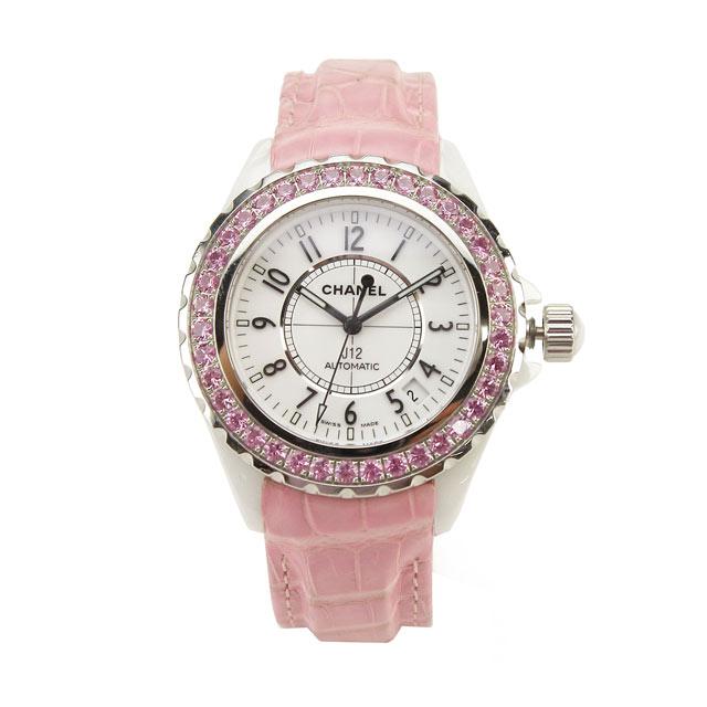 シャネル CHANEL J12 オートマティック ピンクサファイアベゼル 腕時計 H1337【レディース】 ピンク系【自動巻き】
