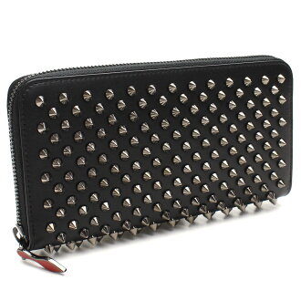 Christian Louboutin (Christian Louboutin) wallet large zip around 1165065-B078 BLACK/GUNMETAL black( taxfree/send by EMS/authentic/A brand new item )