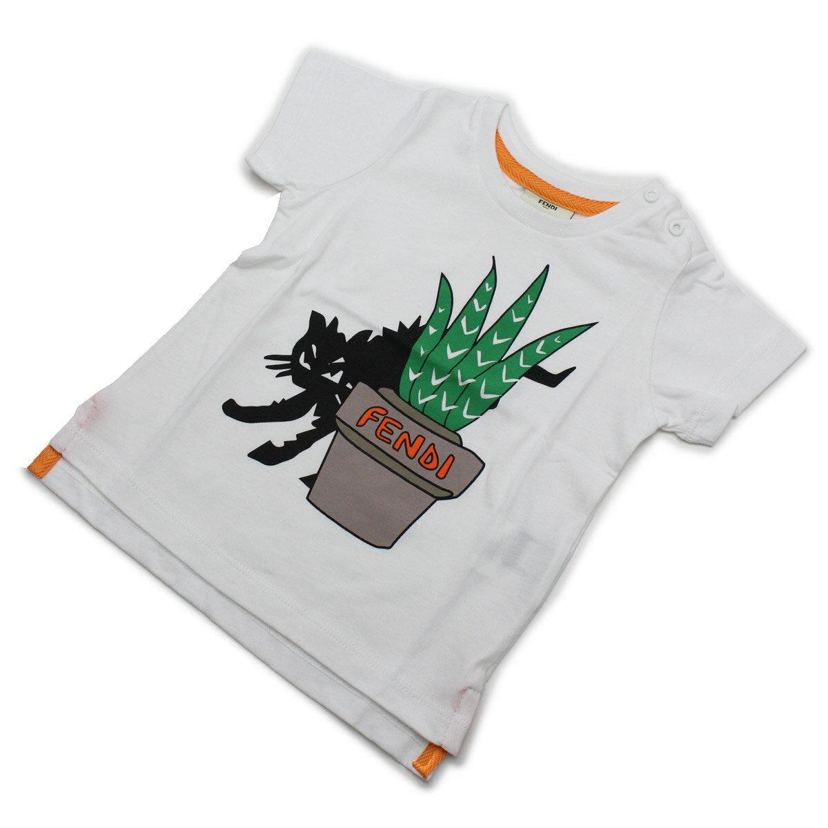 フェンディ (FENDI) ベビーTシャツ ベビー服 BMI061 7AJ F0QA0 ホワイト系【キッズ・ベビー】【男の子】