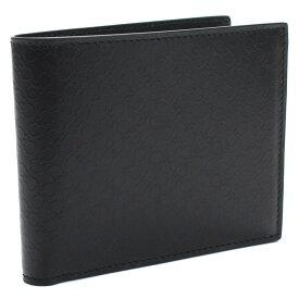 フェラガモ FERRAGAMO DOPPIO GANCIO ガンチーニ型押し 2つ折り財布小銭入れ付き 66-A115 0686504 NERO ブラック メンズ