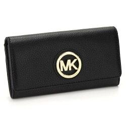 有邁克爾套餐MICHAEL KORS錢包FULTON對開長錢包小硬幣袋的32F2GFTE3L BLACK黑色