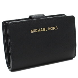 2f6b3a1679e7 マイケルコースアウトレット MICHAEL KORS(OUTLET) コンパクト 2つ折り財布 35F7GTVF2L LEATHER BLACK  ブラック