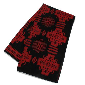 Pendleton (PENDLETON) CHIEF JOSEPH oversized bath towel XB202-51105 BLACK black, Red( taxfree/send by EMS/authentic/A brand new item )