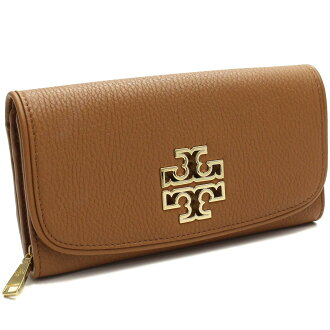 Tory Burch (TORY BURCH) BRITTEN DUO ENVELOPE long bi-fold wallet with coin putting 31159054-209 BARK Brown( taxfree/send by EMS/authentic/A brand new item )