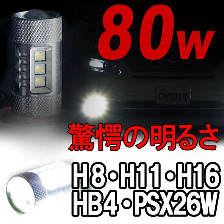 【送料無料】1年保証 LEDバルブ80W【CREE製】H8 H11 H16 HB4 PSX26W 2個1セット LEDフォグランプ エルグランド E51 E52 セレナ C25 C26 オデッセイ ステップワゴン ヴェゼル フィット ヘッドライト LEDテール LEDフォグ