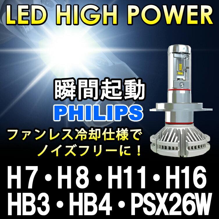 瞬間点灯 8000ルーメン【送料無料】PHILIPS 1年保証 LEDフォグランプ H7 H8 H11 H16 HB3 HB4 PSX26W イエロー ホワイト LEDヘッドライト LEDライト LEDランプ LEDバルブ