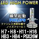 瞬間点灯 8000ルーメン【送料無料】PHILIPS 1年保証 LEDフォグランプ H7 H8 H11 H16 HB3 HB4 PSX26W イエロー ホワイト...