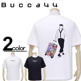 大きいサイズ メンズ Bucca44(ブッカフォーティーフォー) キャリーケースバックプリント 半袖Tシャツ XXL XXXL【コンビニ受取対応商品】