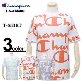 大きいサイズ メンズ Champion(チャンピオン) USAモデル 総柄ビッグロゴ Tシャツ 半袖 XL XXL 3XL【コンビニ受取対応商品】