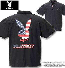 大きいサイズ メンズ PLAYBOY(プレイボーイ) 鹿の子刺繍プリント半袖ポロシャツ ブラック 3L 4L 5L 6L 8L 送料無料 コンビニ受取対応商品